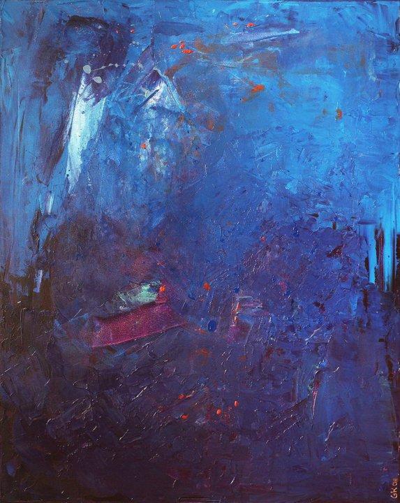 vent de renouveau - oeuvre de Geneviève K - acrylique sur toile 80x100cm